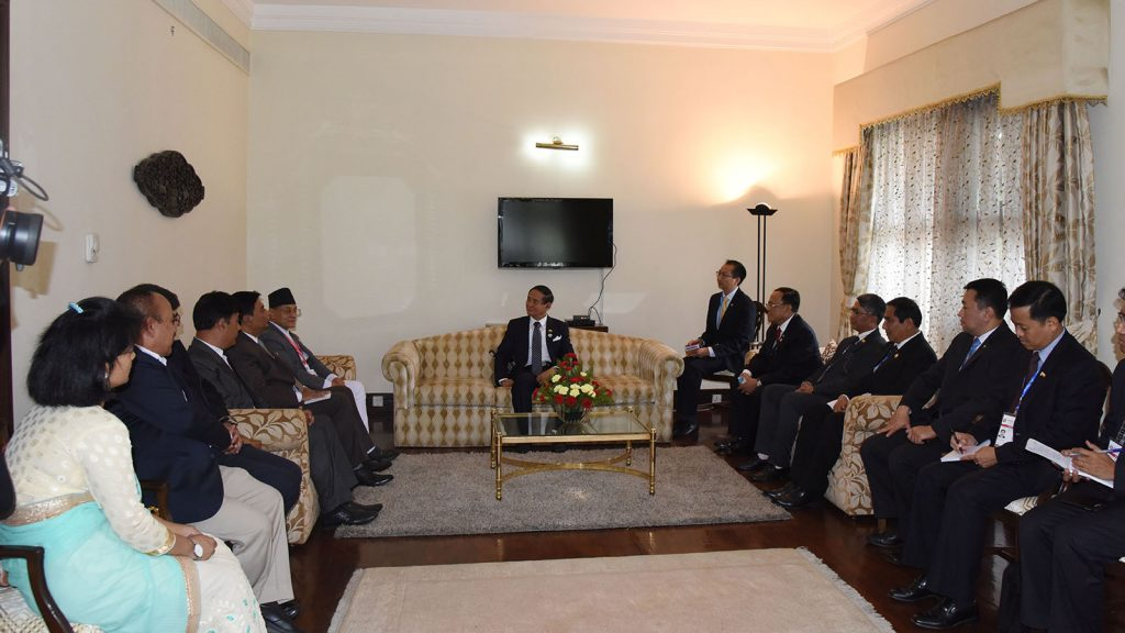 President U Win Myint meeting with Nepal Chamber of Commerce in Kathmandu, Nepal, yesterday. Photo: MNA