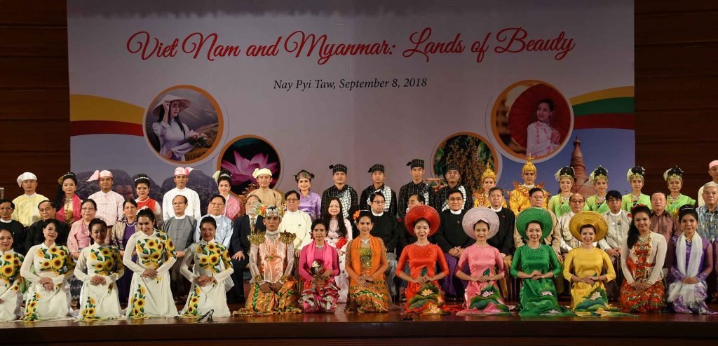 Amyotha Hluttaw Deputy Speaker U Aye Tha Aung, Union Ministers and Ambassador Dr. Luan Thyu Duong pose for photo at the reception to mark 73rd Viet Nam National Day and 1st anniversary of Viet Nam-Myanmar Comprehensive Cooperative Partnership.Photo: MNA