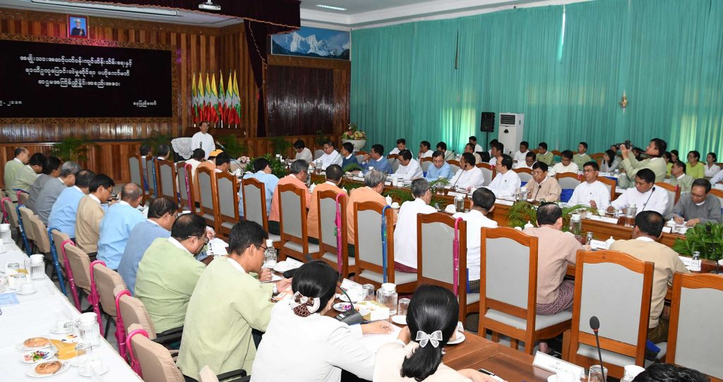 Vice President U Myint Swe addresses the sixth coordination meeting of the National Level Environmental Conservation and Climate Change Central Committee in Nay Pyi Taw yesterday.Photo: MNA