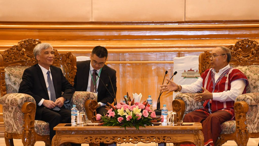 Amyotha Hluttaw Speaker Mahn Win Khaing Than holds talks with Vice Chairman of Standing Committee of NPC of China Mr. Ding Zhongli in Nay Pyi Taw.Photo: MNA