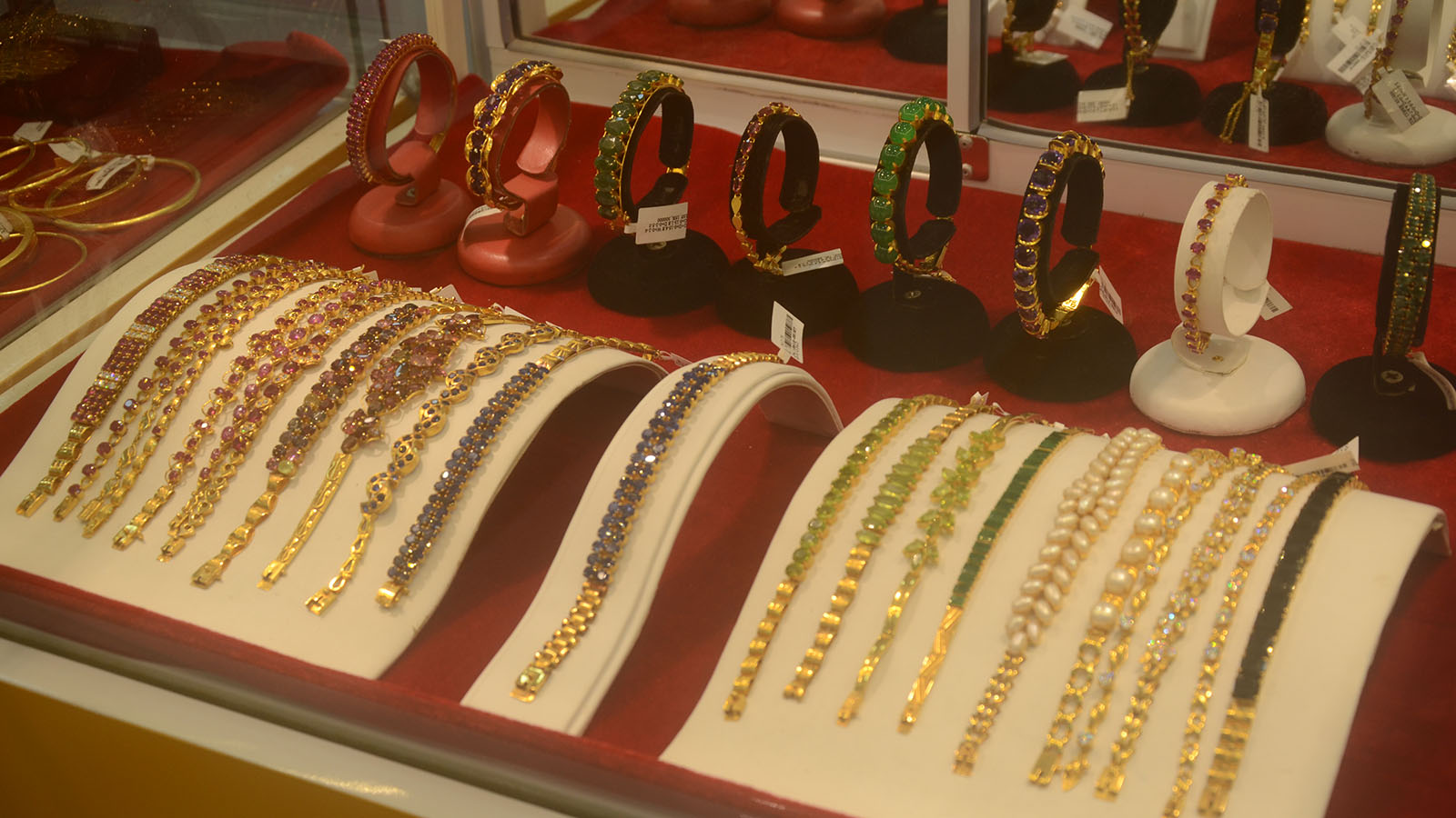 Gold jewellery on display at a shop in Yangon. Photo: Phoe Khwar