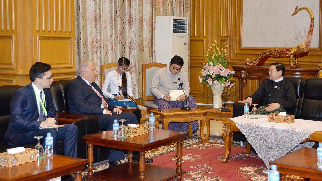 Pyithu Hluttaw Speaker U T Khun Myat holds talks with Turkish Ambassador Mr. Kerem Divanlioglu in Nay Pyi Taw yesterday.Photo: MNA