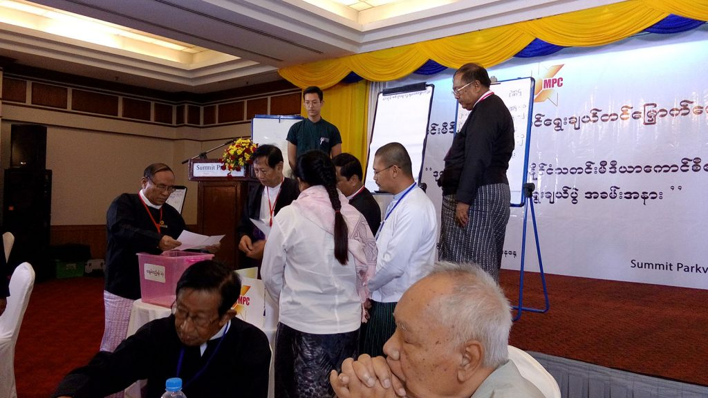 Myanmar Press Council members voting at the election in Yangon yesterday.Photo : Nay Linn