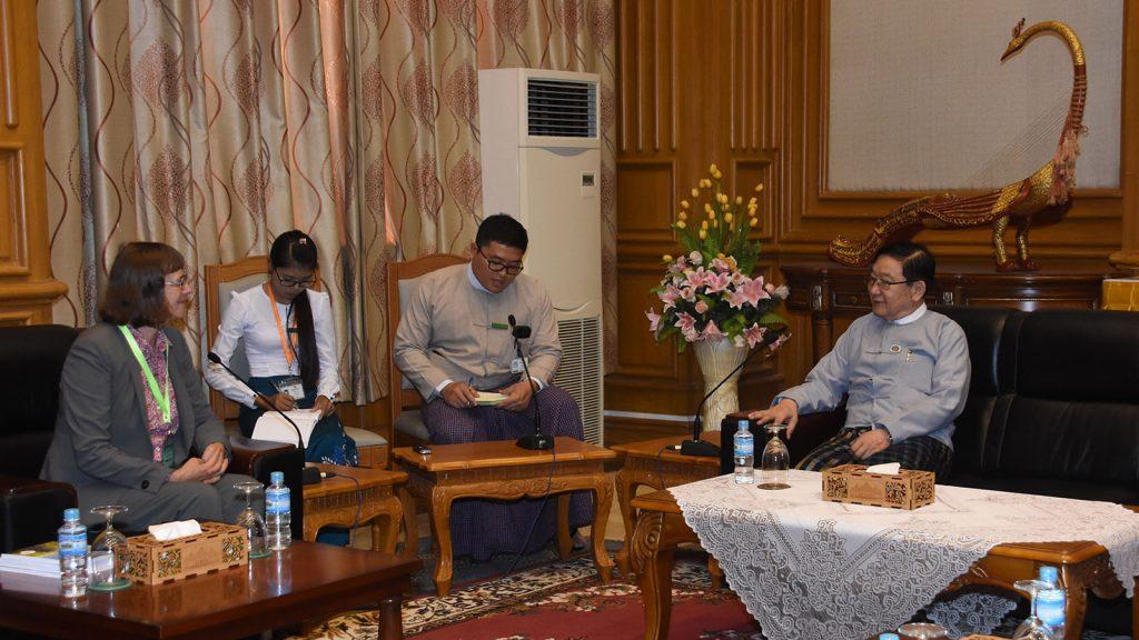 Pyithu Hluttaw Speaker U T Khun Myat holds talks with German Ambassador Mrs Dorothee Janetzke-Wenzel in Nay Pyi Taw. Photo: MNA