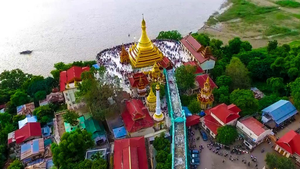 An aerial view of Myathalun Pagoda seen on the Ayeyawady River bank.Photo: Zeyatu (Magway)