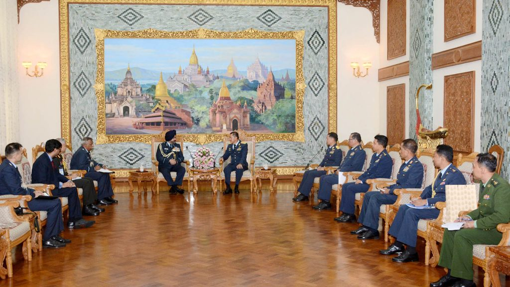 Commander-in-Chief (Air) General Maung Maung Kyaw meets with Indian Air Force Air Chief Marshal B. S. Dhanoa in Nay Pyi Taw yesterday.Photo: Tatmadaw News