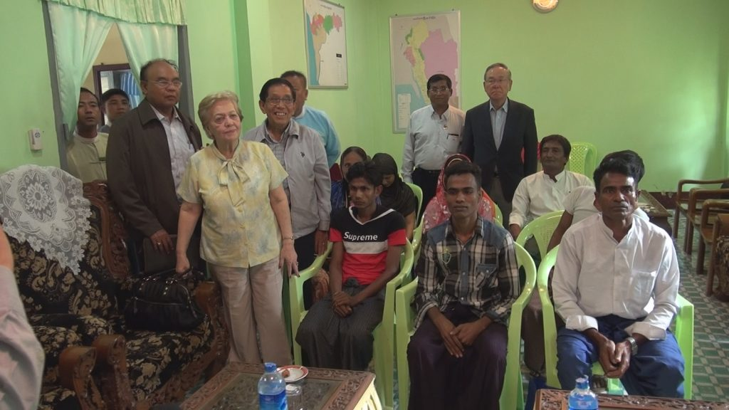 Chairperson Mrs. Rosario Manalo and members of the Independent Commission of Enquiry meeting with local people during their field visits in Maungtaw yesterday.