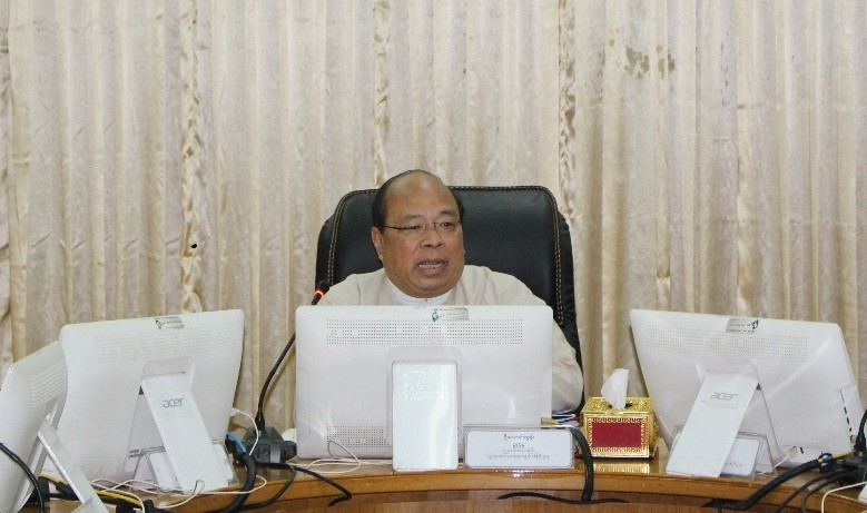 U Thaung Tun, Chairman of the Myanmar Investment Commission attends the meeting 14/2018. Photo:MNA