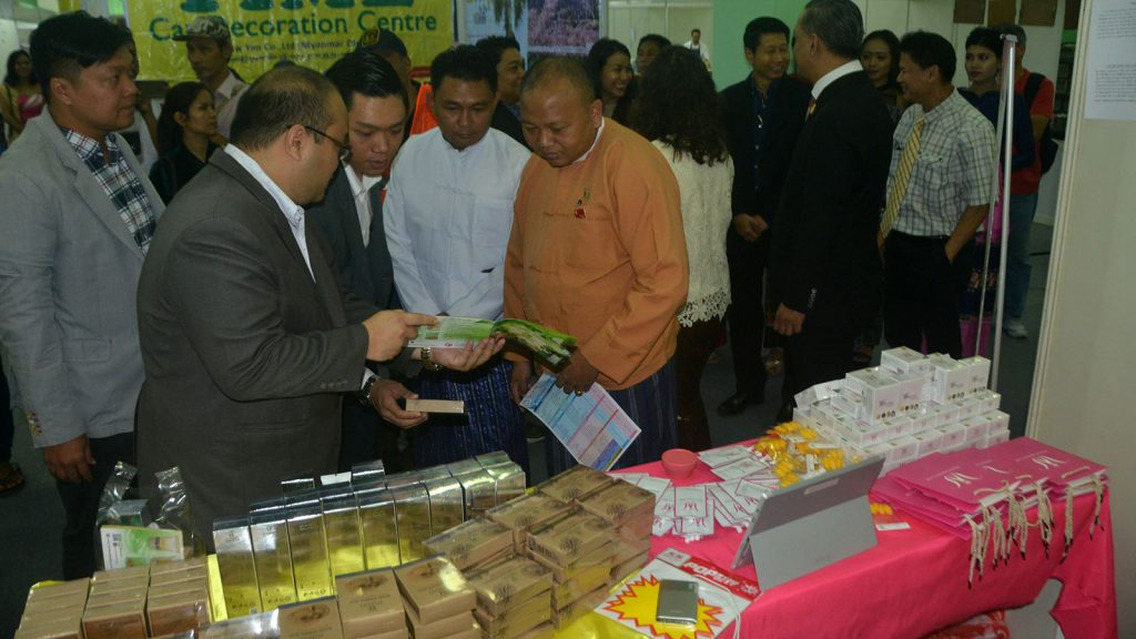 Yangon Expo and Thai Products Fair being launched at Tatmadaw Exhibition Hall in Yangon . Photo: Khin Maung Win