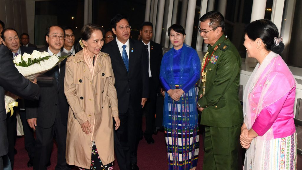 State Counsellor Daw Aung San Suu Kyi arrives at Haneda Airport to attend the 10th Mekong-Japan Summit in Tokyo.Photo: MNA