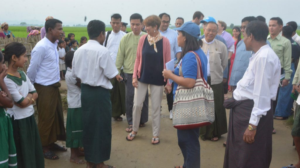 United Nations Secretary General's Special Envoy on Myanmar Ms. Christine Schraner Burgener and delegation observe the prevalence of peace in northern Rakhine State.  Photo: Aung Kyaw Oo