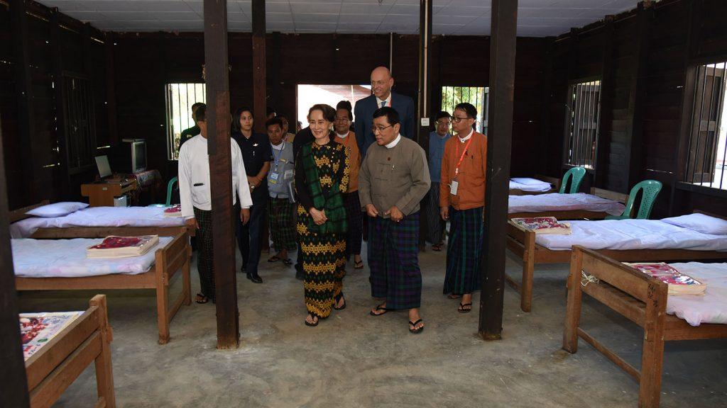 State Counsellor Daw Aung San Suu Kyi visits drug rehabilitation center in Leagone Ward.Photo: MNA