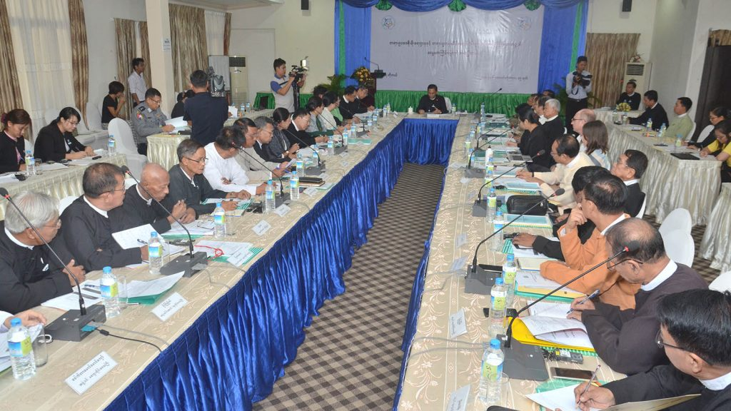 Union Attorney-General U Tun Tun Oo attends the sixth meeting of the Coordination body of Rule of Law Department and Judiciary Fairness in Nay Pyi Taw.Photo: MNA