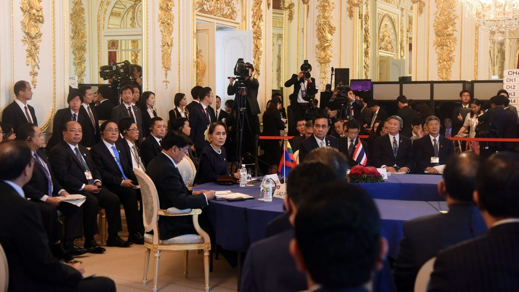 State Counsellor Daw Aung San Suu Kyi attending the 10th Mekong-Japan Summit Meeting, together with leaders of Mekong countries yesterday.Photo: MNA