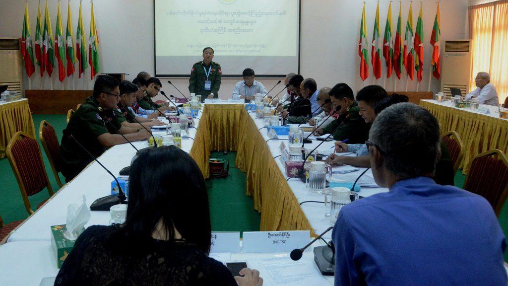 JMC-U Secretary-2 Col. Wunna Aung addresses the Second Secretariat Meeting of all levels of JMC in Yangon.Photo: Pho Htaung