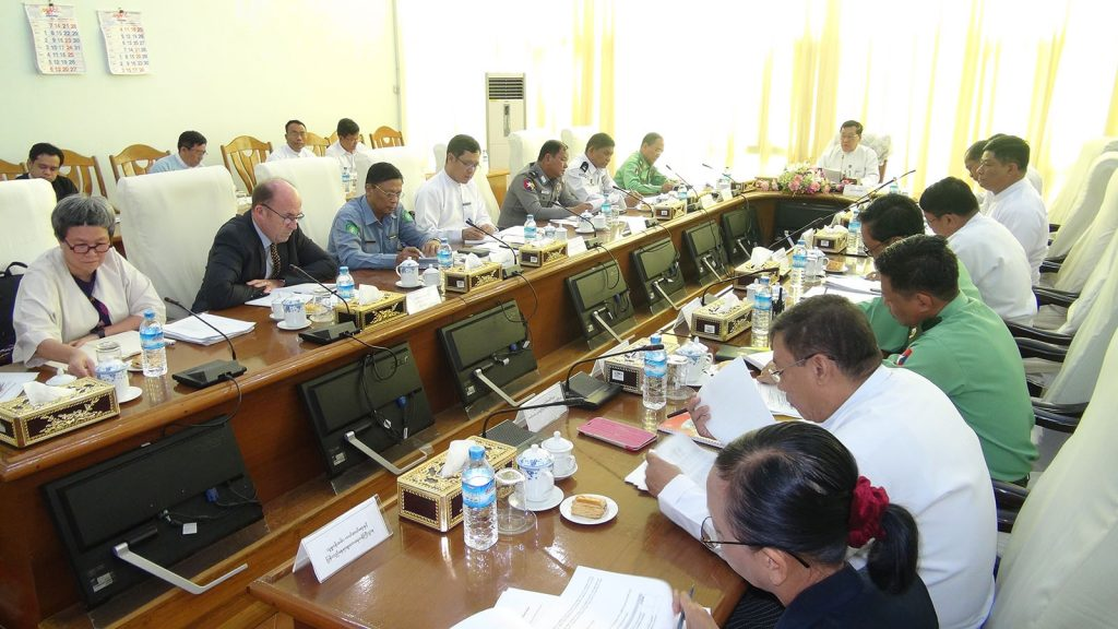 Union Minister U Thein Swe attends the workship on preventing forced labour in Nay Pyi Taw yesterday.photo: mna