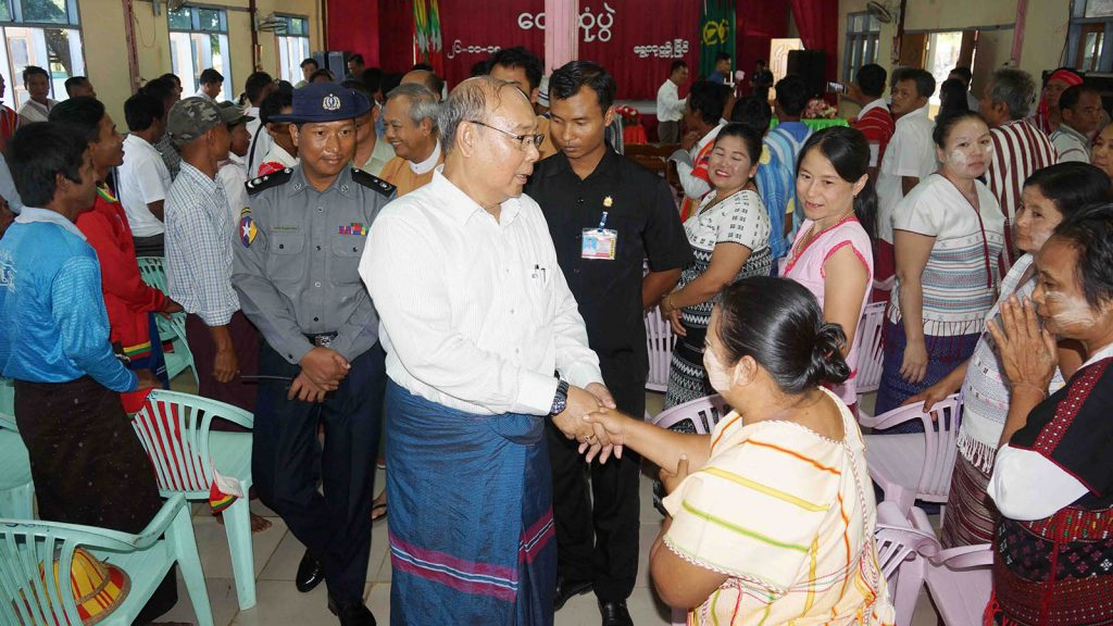 Amyotha Hluttaw Speaker Mahn Win Khaing Than meets with villagers from Shwe Koke Ko Myaing in Myawady District, Kayin State yesterday. Photo: MNA