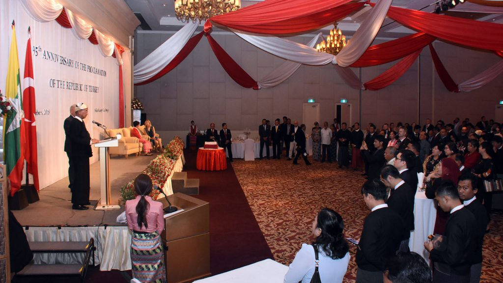 Union Minister U Ohn Maung delivers message of greeting at the 95th anniversary of the founding of the Republic of Turkey.photo: MNA