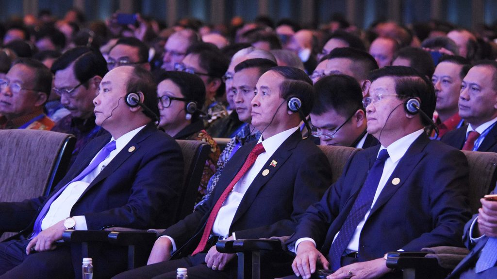 President U Win Myint attends the opening of IMF, World Bank annual meetings in Bali, Indonesia, yesterday.Photo: MNA