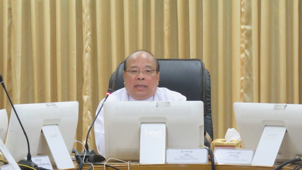Chairman of MIC U Thaung Tun attends the Myanmar Investment Commission (MIC) meeting (17 / 2018) in Yangon.Photo: MNA