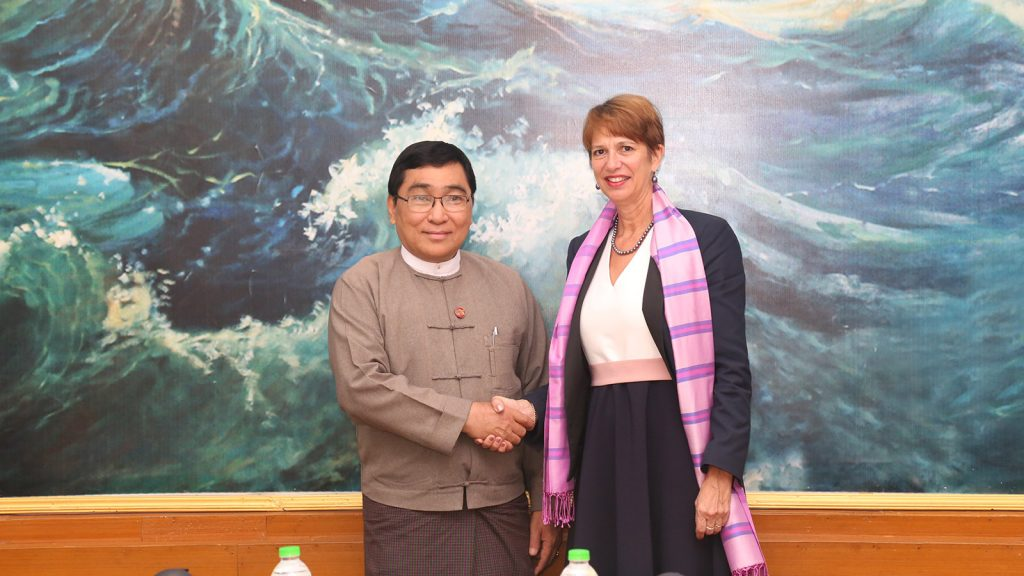 Union Minister Dr. Win Myat Aye shakes hands with UNSG's Special Envoy on Myanmar Ms. Christine Schraner Burgener yesterday.Photo: MNA