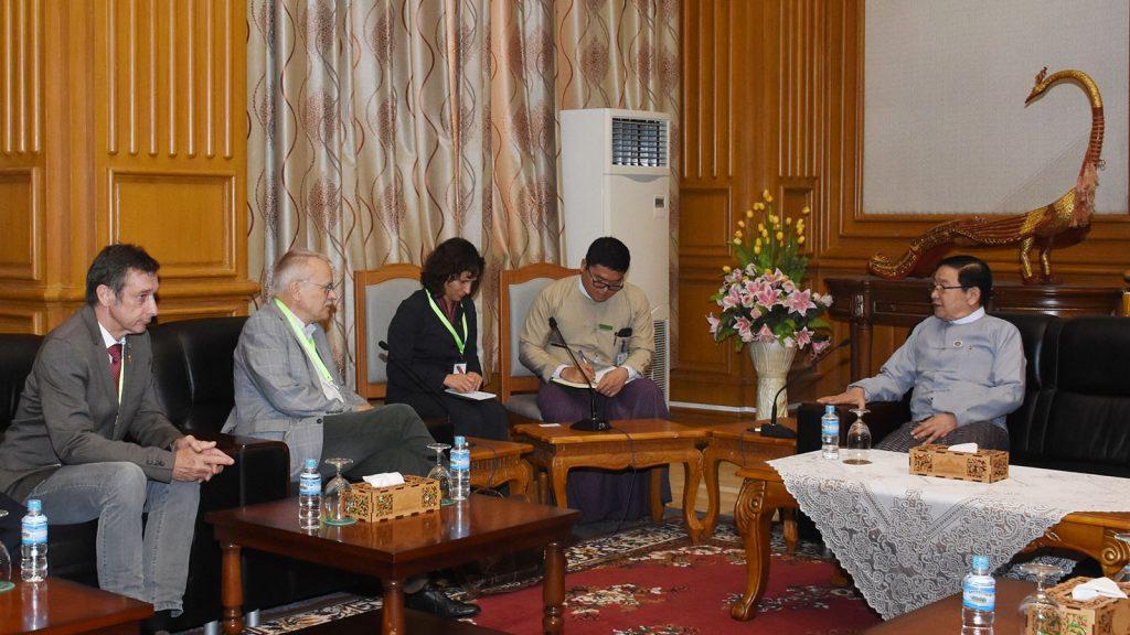 Pyithu Hluttaw Speaker U T Khun Myat holds talks with Mr. Uwe Kekeritz in Nay Pyi Taw. Photo: MNA