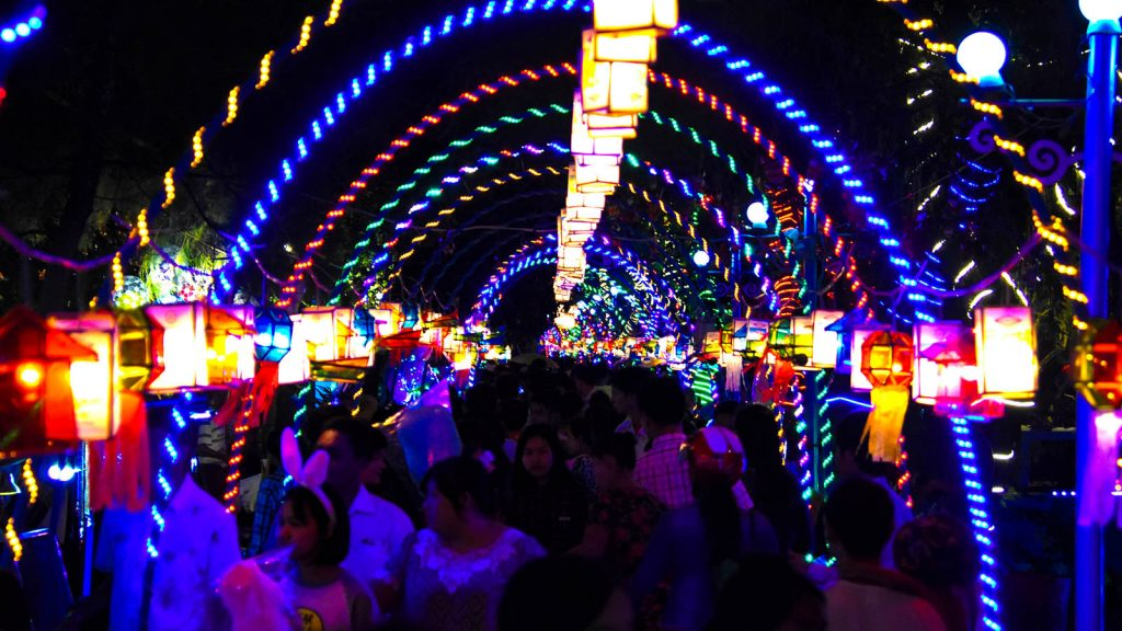 Shankan, the venue of the Centenary Celebrations, is  decorated with multi-colour lights.Photo: MNA