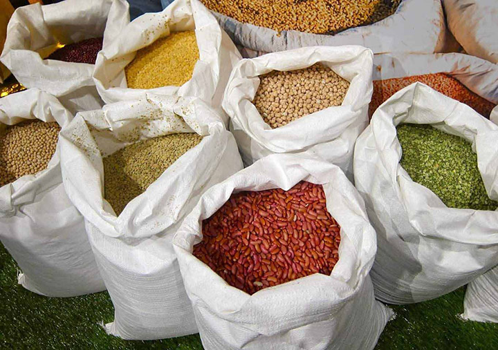 Myanmar pulses are kept on display for sale in a shop at a market. Photo Min Htet Aung