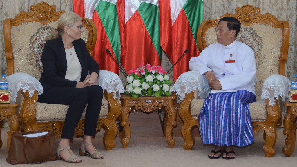 Union Election Commission Chairman U Hla Thein holds talks with Norway's Ambassador Mrs. Tone Tinnes in Nay Pyi Taw.Photo: MNA
