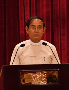 President U Win Myint delivers the address at the swearing-in ceremony of Myanmar Press Council in Nay Pyi Taw.  Photo: MNA