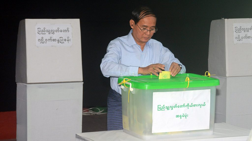 President U Win Myint cast their votes in the By-Elections for a vacant seat for Pyithu Hluttaw at the polling station-3 in Pyithu Hluttaw constituency in Tamway Township. Photo: MNA