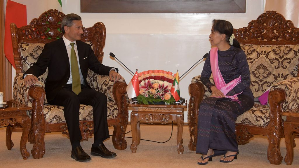 State Counsellor Daw Aung San Suu Kyi holds talks with Singapore's Foreign Minister Dr. Vivian Balakrishnan. Photo: MNA