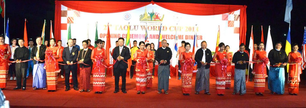 Officials open the 2nd Taolu World Cup 2018 at the Myanmar Sports Hotel in Yangon yesterday. Photo: Bala Soe