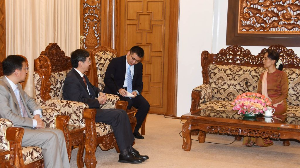 State Counsellor Daw Aung San Suu Kyi meets with Mr. Sun Guoxiang, China's Special Envoy for Asian Affairs, in Nay Pyi Taw. Photo: MNA