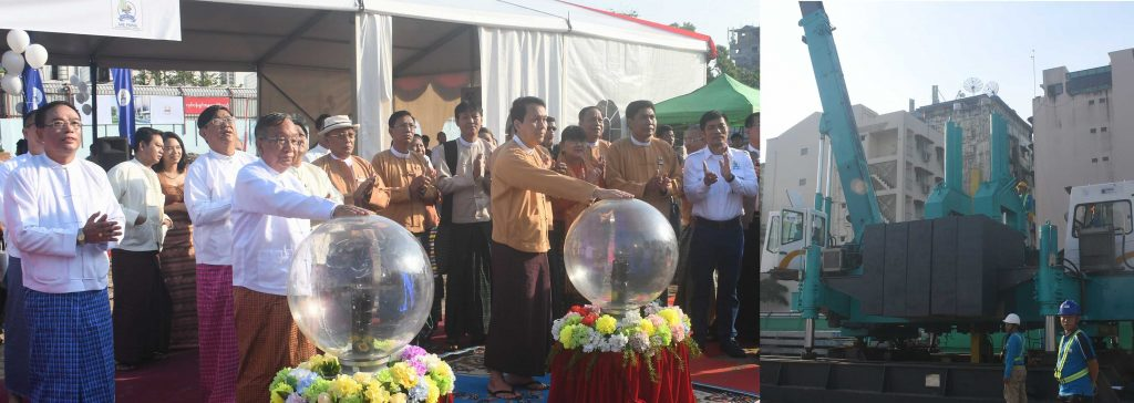 Union Minister U Han Zaw (left) and Yangon Region Chief Minister U Phyo Min Thein (Right) launch the work on construction of  Lanthit  Housing Project in Yangon yesterday.Photo: MNA
