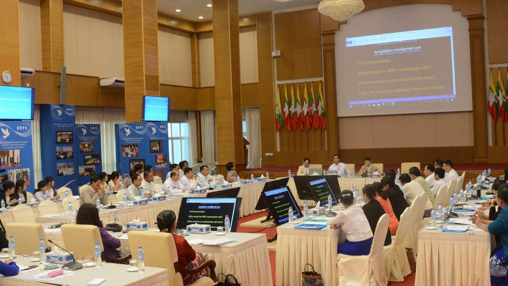 Deputy Minister U Aung Hla Tun attends the workshop on capacity building for NRPC staff in Nay Pyi Taw.Photo: MNA