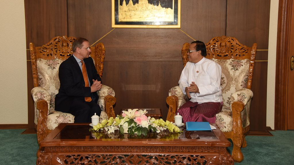 Union Minister U Kyaw Tin meets with the newly-appointed UNHCR Representative Mr. Johan Cels in Nay Pyi Taw.Photo: MNA