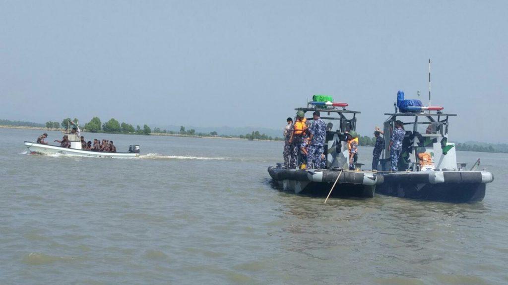 Myanmar Border Police and Border Guards Bangladesh conducting coordinated naval patrols.Photo: MPF