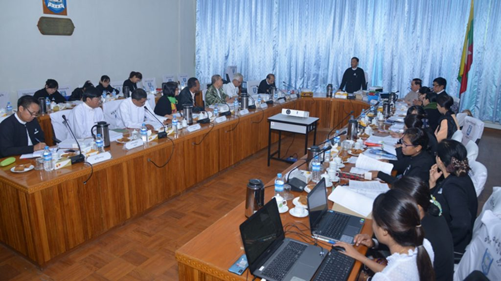Union Attorney-General U Tun Tun Oo addresses the third meeting of the Legal Translation Commission held at his office's meeting hall in Nay Pyi Taw yesterday.photo: mna