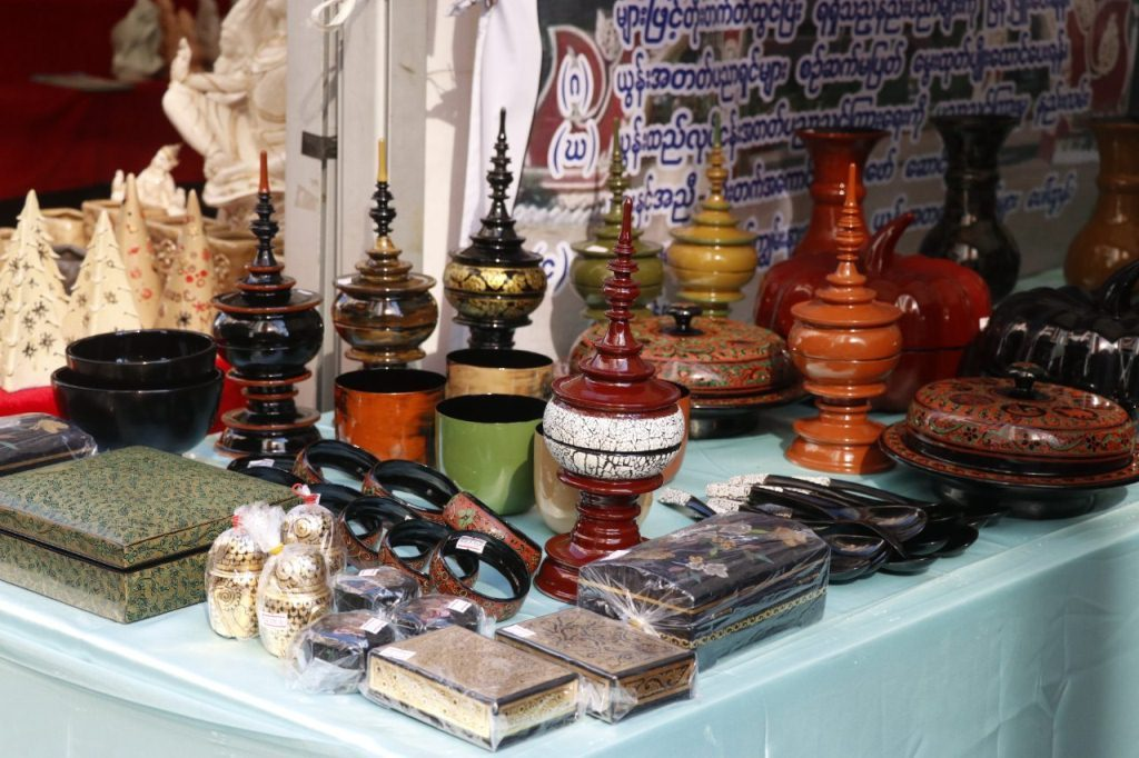 Myanmar traditional arts and crafts seen at the exhibition in Mandalay.Photo :  supplied