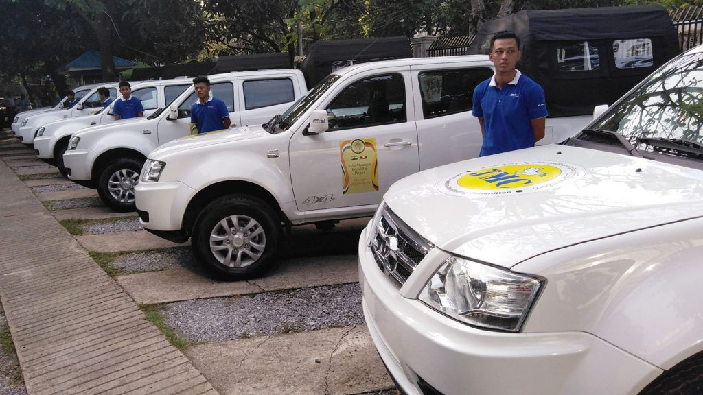 TATA Xenon vehicles donated by the Government of India to JMC are seen.  Photo: Phoe Htaung