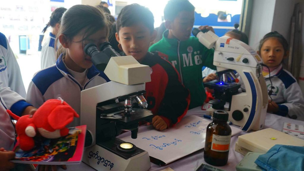 A young girl and her classmates try out microscopes.photo: MNA