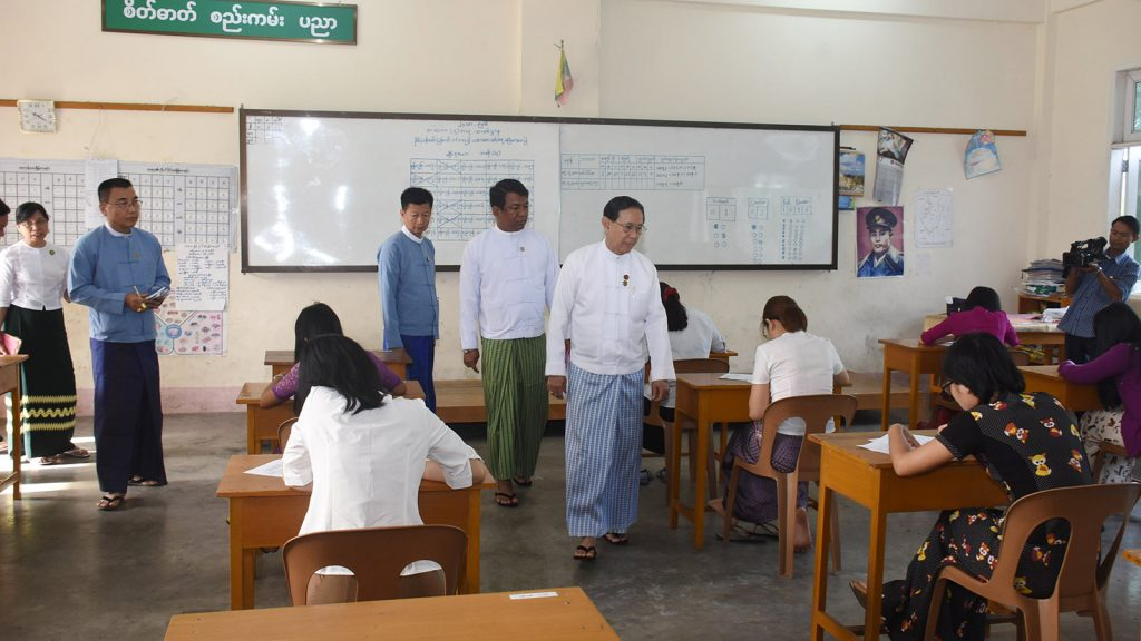Union Civil Service Board (UCSB) Chairman Dr. Win Thein inspects the examinations for 188 entry level gazetted officer positions in Yangon.Photo: MNA