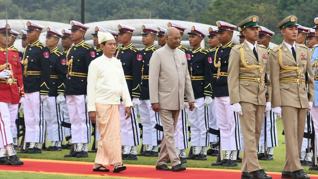 President of India Shri Ram Nath Kovind and President U Win Myint inspect the Guard of Honour at the Presidential Palace in Nay Pyi Taw. Photo: MNA