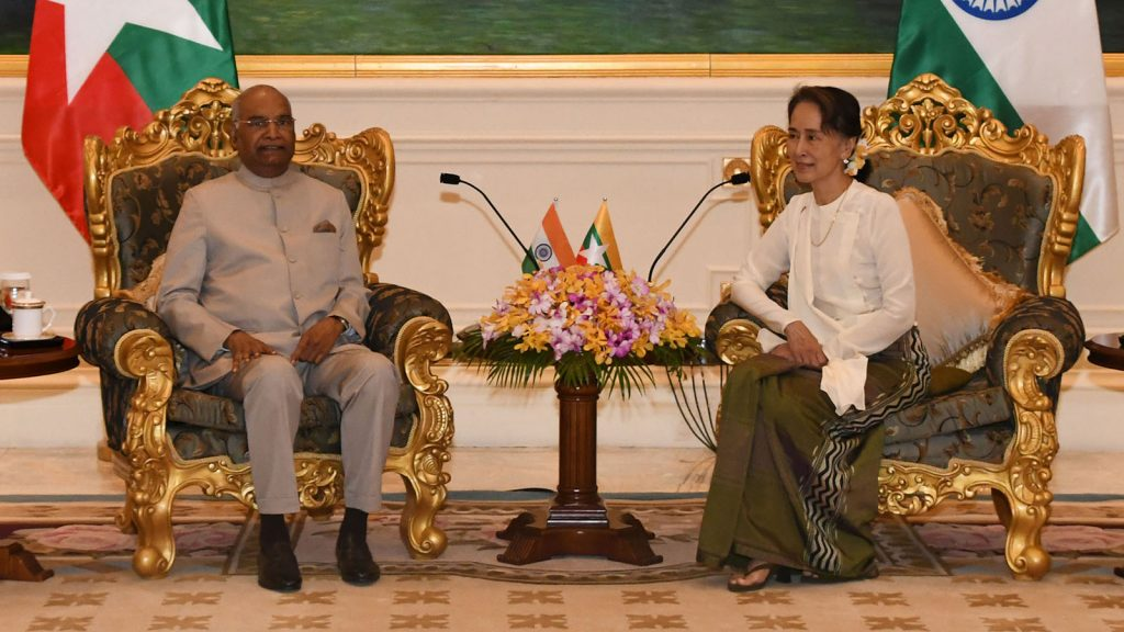 State Counsellor Daw Aung San Suu Kyi meeting with President of India Shri Ram Nath Kovind at the Presidential Palace in Nay Pyi Taw yesterday.Photo: MNA