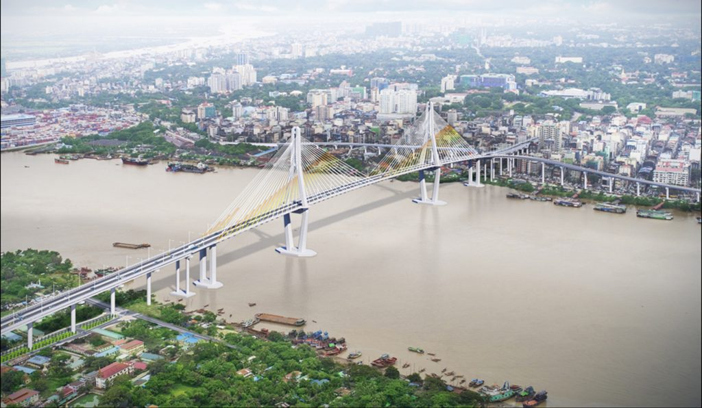 Architectural design of Yangon-Dala friendship bridge.Photo: Zaw Min Latt