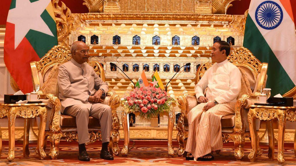 President U Win Myint receives President of India Shri Ram Nath Kovind at the Presidential Palace in Nay Pyi Taw yesterday.Photo: MNA