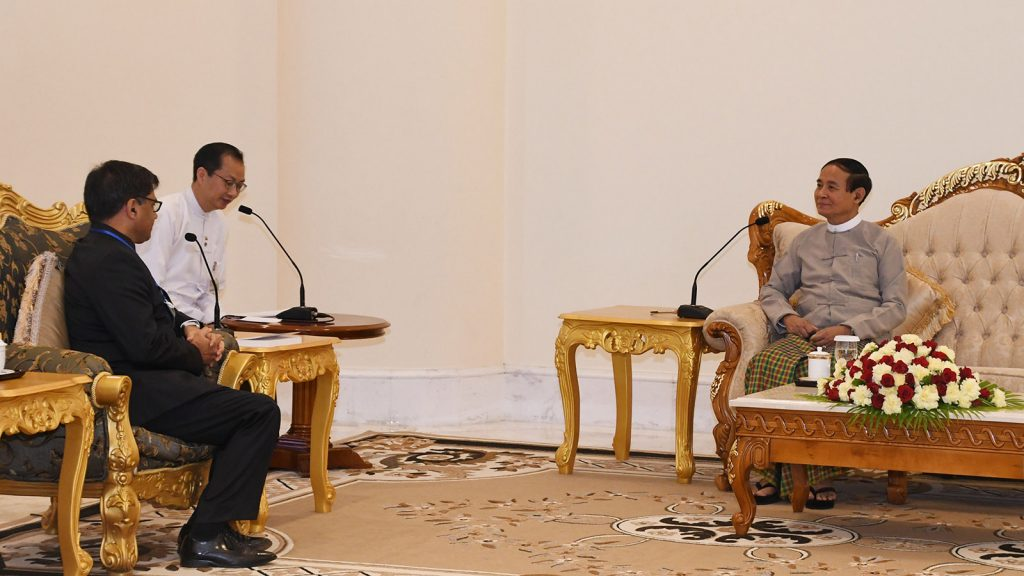 President U Win Myint meets with Indian Ambassador Mr. Vikram Misri at the Presidential Palace in Nay Pyi Taw yesterday.Photo: MNA