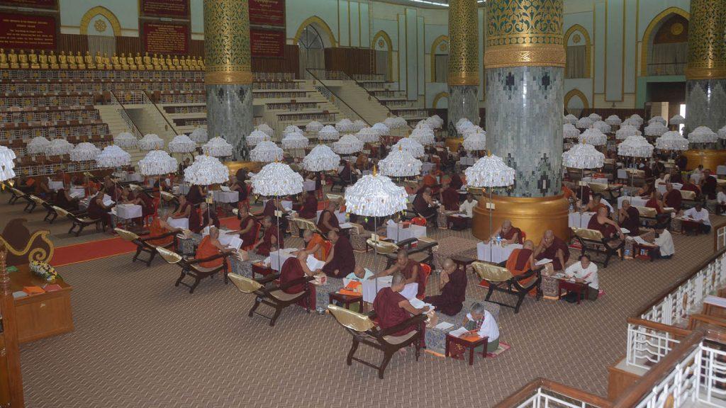Oral examinations were taken by venerable Sanghas at the 71st Tipitakadhara Tipitaka Kovida Selection Examination yesterday in Vizaya Mingala Dhamma Thabin, Kaba Aye Hill, Yangon.Photo: MNA