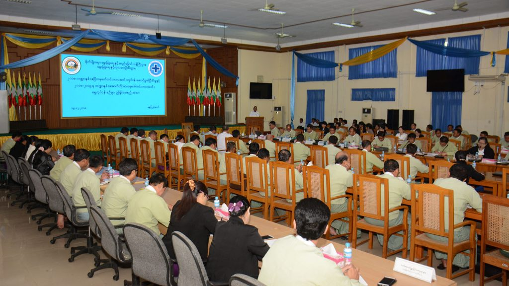 Union Minister for Agriculture, Livestock and Irrigation, Dr. Aung Thu, addresses current and future works of the Livestock Breeding and Veterinary Department at a meeting in Nay Pyi Taw.photo: mna